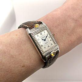 Jaeger LeCoultre REVERSO Joaillerie 18K White Gold Watch Factory Diamonds