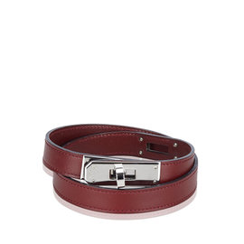Hermes Kelly Leather and Silver Tone Hardware Choker Bracelet