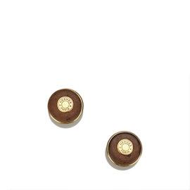 Hermes Gold Tone Hardware & Leather Clou De Selle Earrings
