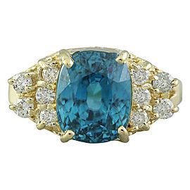 7.12 Carat Zircon 14K Yellow Gold Diamond Ring