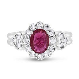 14k White Gold 1.85ct. Diamond & Oval Ruby Halo Heart Ring Size 7