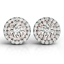 14k White and Rose Gold Halo Style Diamond Earrings