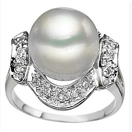 925 Sterling Silver Pearl & Diamond Ring Size 8