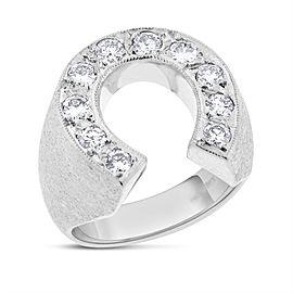 14k White Gold Matte Finish 1.02 Ct. Natural Diamond Horseshoe Luck Mens Ring Size 8.75