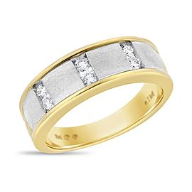 14k White and Yellow Gold 0.30ct. Diamond Mens Fancy Ring Size 10.5