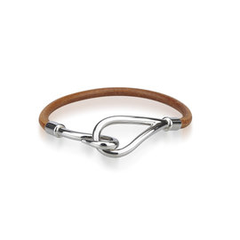 Hermes Silver Tone Hardware and Leather Jumbo Bracelet