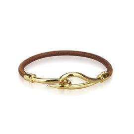 Hermes Gold Tone Hardware and Leather Jumbo Hook Bracelet