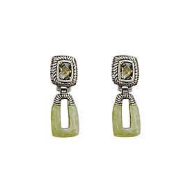 Judith Ripka Sterling Silver Earrings with Prasiolite and Jade