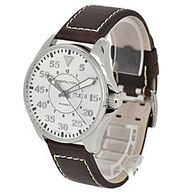 HAMILTON Khaki pilot H646110 Silver Dial SS/Leather Quartz Men's Watch