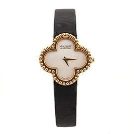 Van Cleef & Arpels Alhambra Quartz Watch Yellow Gold and Satin with Mother of Pearl 26