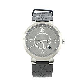 Louis Vuitton Tambour Slim Quartz Watch Stainless Steel and Monogram Eclipse 39