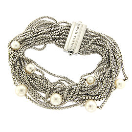 David Yurman 925 Sterling Silver with Cultured Pearl Multi Row Petite Chain Bracelet