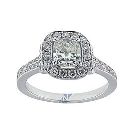 18K White Gold 1.81 Carat H SI1 Cushion Cut Diamond Engagement Ring