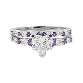 14K White Gold with 1.06ct Heart Diamond & Purple Topaz Band Ring Size 6