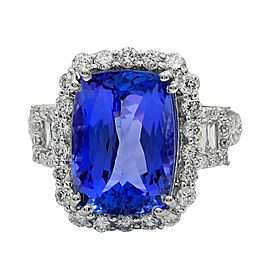 Platinum Tanzanite Diamond Ring Size 7.5