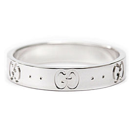 GUCCI 18K White Gold Icon Band Ring