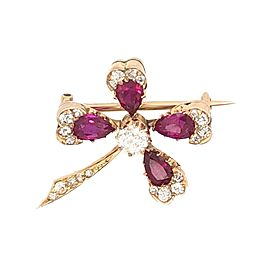 Clover Diamond Ruby Antique Brooch