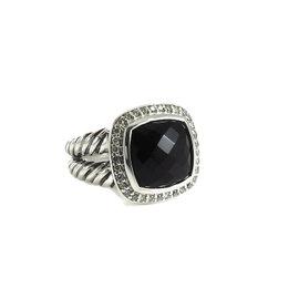 David Yurman Sterling Silver .21tcw 11mm Black Onyx Diamond Albion Ring
