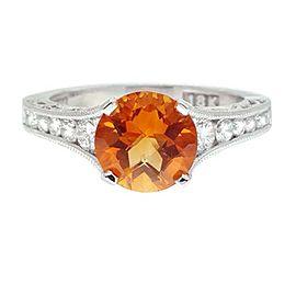 Tacor 18K White Gold Citrine .62ctw Diamond Ring Size 6.25