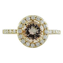 1.60 Carat Morganite 14K Yellow Gold Diamond Ring