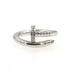 Cartier Juste un Clou 18K White Gold Diamond Ring Size 7.25
