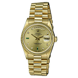Rolex Day-Date 18238 18K Yellow Gold with Champagne Diamond Dial 36mm Mens Watch