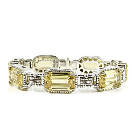Judith Ripka Two Sterling Silver 18K Yellow Gold Canary Crystal Diamond Roma Bracelet