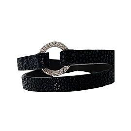 Aaron Basha Dark Grey Stingray .225ct Diamond Bracelet