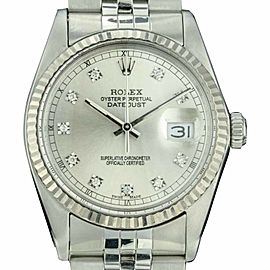 Rolex Datejust 1601 Stainless Steel with Grey Diamond Dial Vintage 36mm Mens Watch