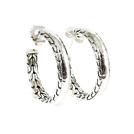 John Hardy Sterling Silver Large Palu Hoop Earrings