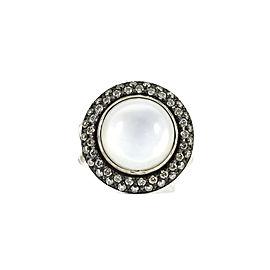 David Yurman Sterling Silver Moonstone Quartz Diamond Cerise Ring Size 6