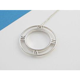 Tiffany & Co Silver Atlas Roman Numeral Pendant Necklace