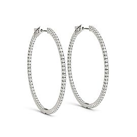 Thin Prong Style Diamond Hoop Earrings in 14k White Gold (1 1/2 cttw)