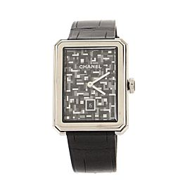 Chanel Boy·Friend Tweed Quartz Watch Stainless Steel and Alligator Embossed Calfskin 27