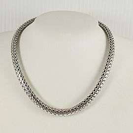 "John Hardy Sterling Silver 18K 16"" 7.5mm Classic Chain Necklace with Gold Clasp"