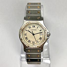 CARTIER SANTOS OCTAGON Quartz 31mm 18K Yellow Gold & Steel DIAMOND Bezel Watch