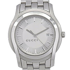 GUCCI 5500XL Date Silver/White Dial Stainless Steel Quartz Men's Watch