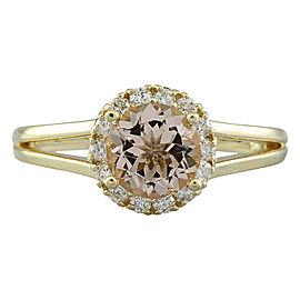 1.24 Carat Morganite 14K Yellow Gold Diamond Ring
