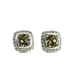 David Yurman Sterling Silver .40tcw 7mm Lemon Citrine Diamond Petite Albion Earrings
