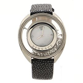 Versace Destini Spirit Quartz Watch Stainless Steel and Stingray with Diamond Markers, Floating Crystals and Mother of Pearl 38