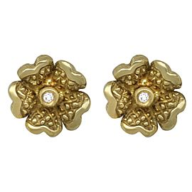 Judith Ripka 18k Diamond Dogwood Flower Stud Earrings
