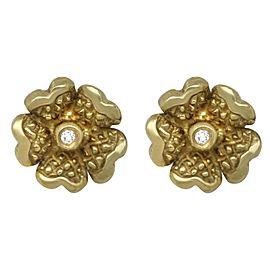 Judith Ripka 18k Diamond Dogwood Flower Stud Earrings