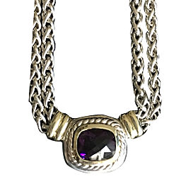David Yurman Albion 925 Sterling Silver & 14K Yellow Gold Amethyst Necklace