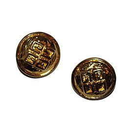 Givenchy 18K Gold Plated Metal 3D Abstract Monogram Clip-On Earrings