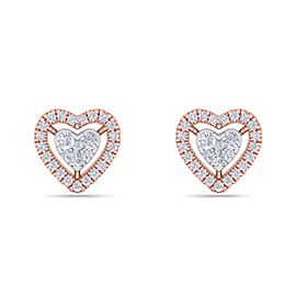 GLAM ® Heart stud earrings in 18K gold with white diamonds of 0.93 ct in weight
