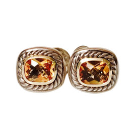 David Yurman Sterling Silver and 14K Yellow Gold Golden Citrine Albion Earrings