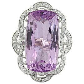 29.02 Carat Kunzite 14K White Gold Diamond Ring
