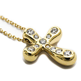 TIFFANY & co 18K yellow Gold Diamond Dots Cross Necklace HK-2178