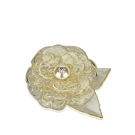 Chanel Simulated Glass Pearl Camellia Brooch