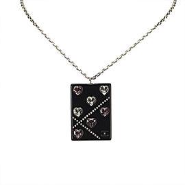 Chanel Silver Tone Hardware Rhinestone Studded Necklace